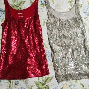 Red sequin and snakeskin print sequin tank tops
